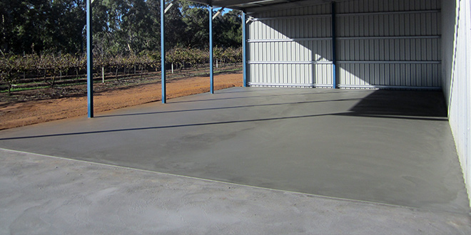 Shed's Grey Concrete Floor